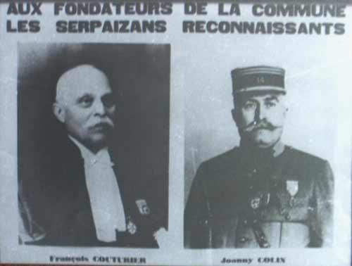 Monsieur François Couturier et Monsieur Joanny Colin fondateurs de la commune